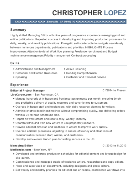 Editorial Project Manager resume template California