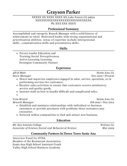 Store Manager resume template California