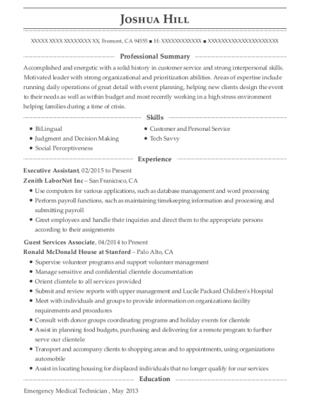 Executive Assistant resume format California