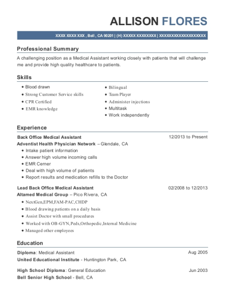 Back Office Medical Assistant resume example California