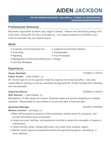 House Assistant resume format California
