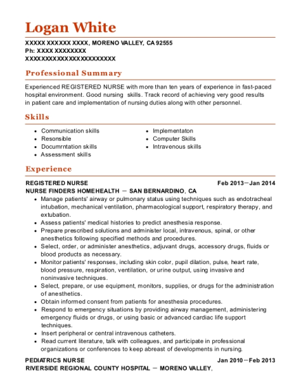 Registered Nurse resume format California