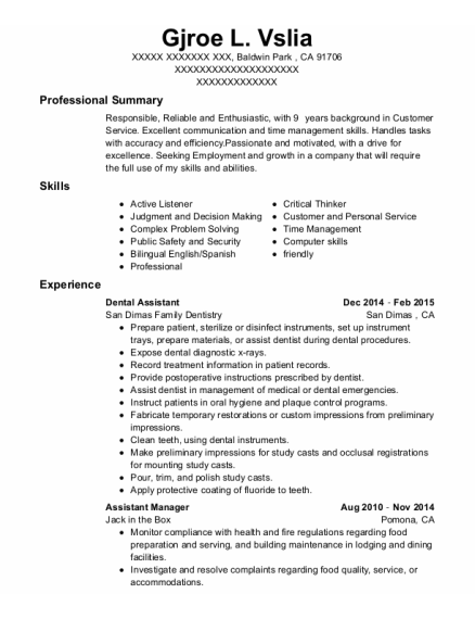 Dental Assistant resume template California