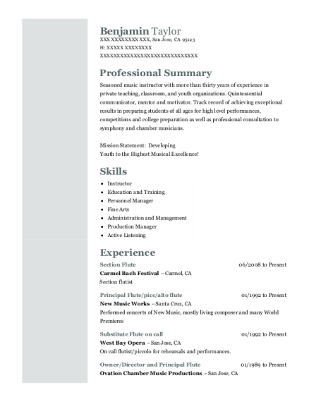 Section Flute resume sample California