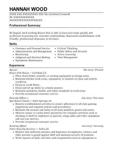 Busser resume template California