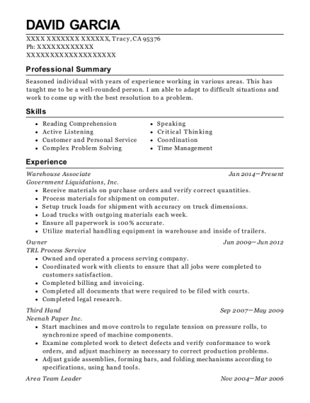 amazon fulfillment center warehouse associate resume