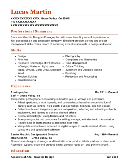 Photographer resume example California