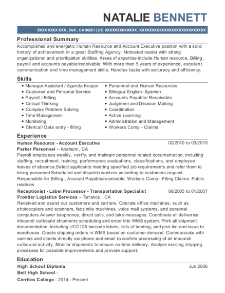 Human Resource Account Executive resume sample California