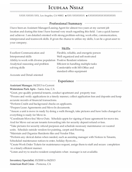 Assistant Manager resume template California
