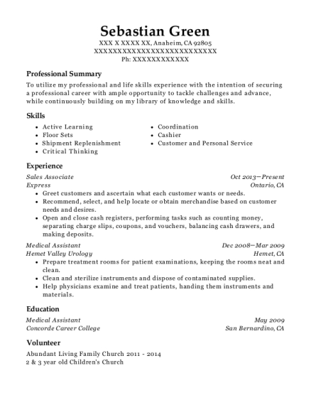 Sales Associate resume template California