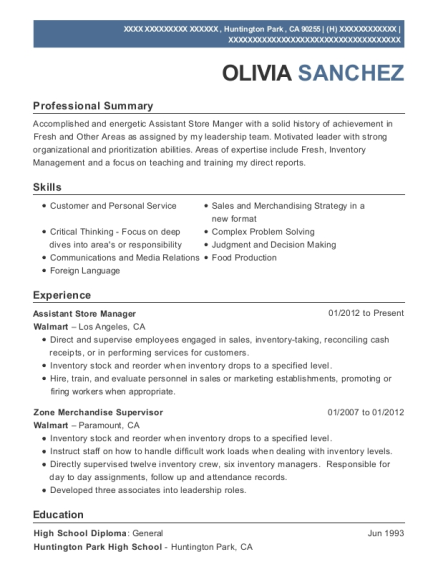 Assistant Store Manager resume format California