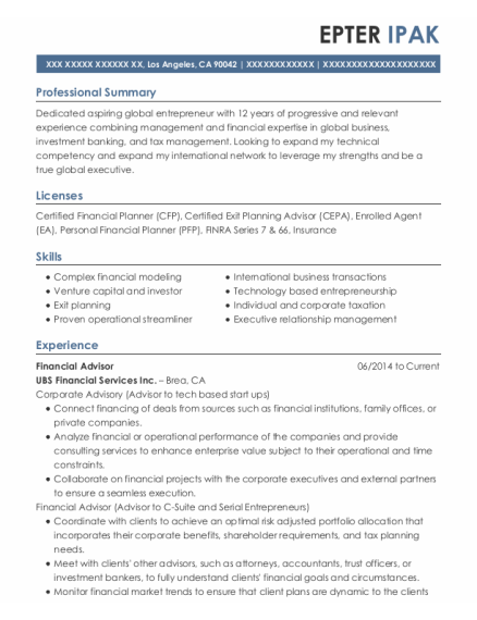 Financial Advisor resume example California