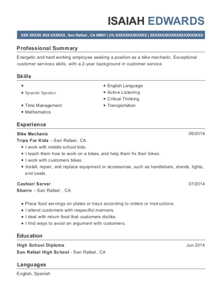 Bike Mechanic resume example California
