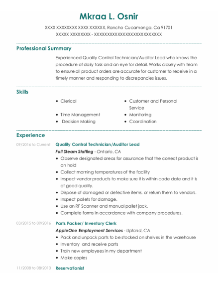 Quality Control Technician resume format California