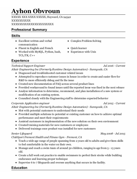 Technical Support Engineer resume example California