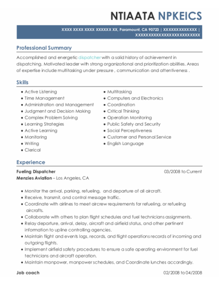 Job Coach resume sample California