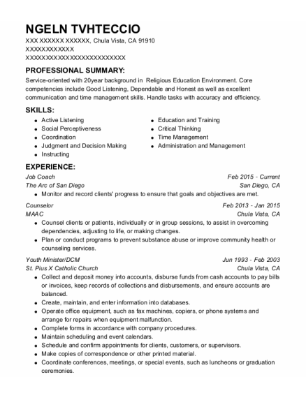 Job Coach resume template California