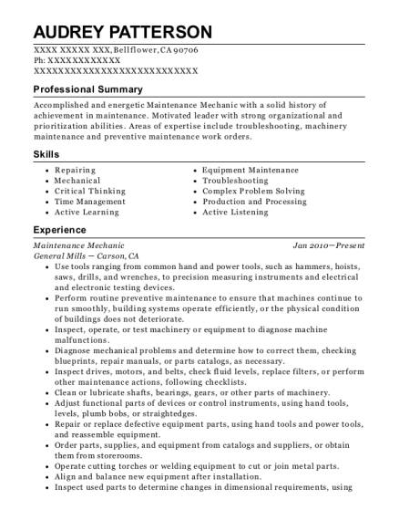Maintenance Mechanic resume format California