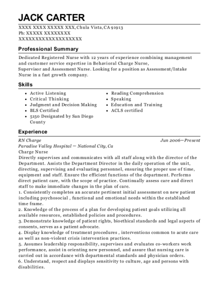 RN Charge resume example California