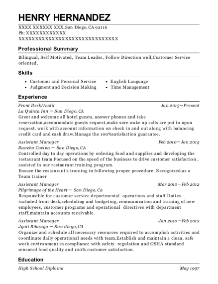 Front Desk resume template California