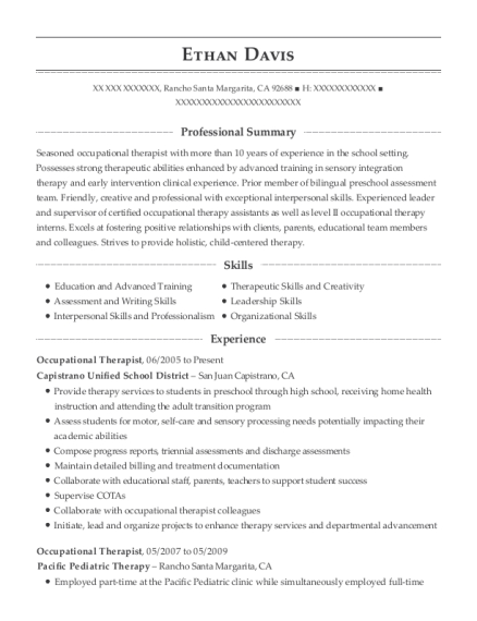 Occupational Therapist resume example California