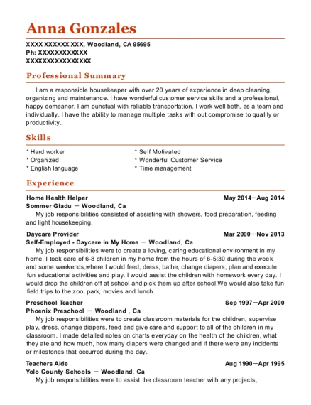 Home Health Helper resume example California