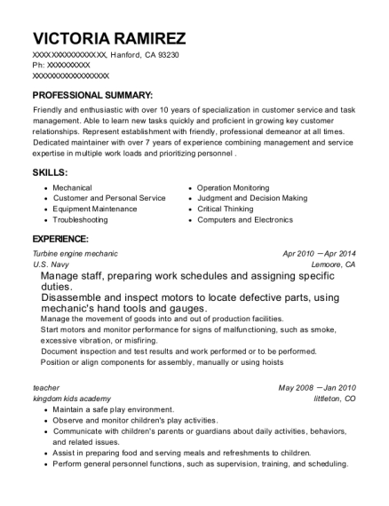 Turbine engine mechanic resume template California