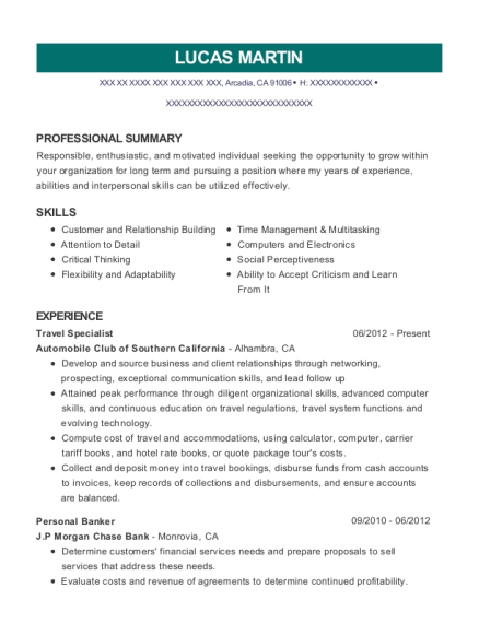 Travel Specialist resume sample California