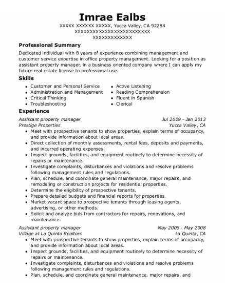 Assistant Property Manager resume example California
