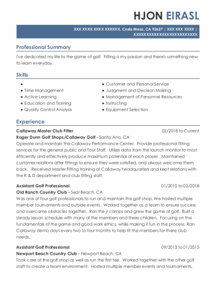 Assistant Golf Professional resume template California