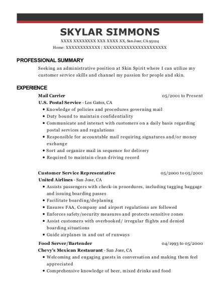Mail Carrier resume template California
