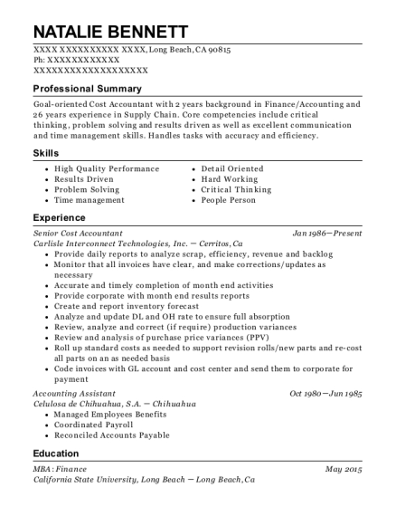 Senior Cost Accountant resume template California