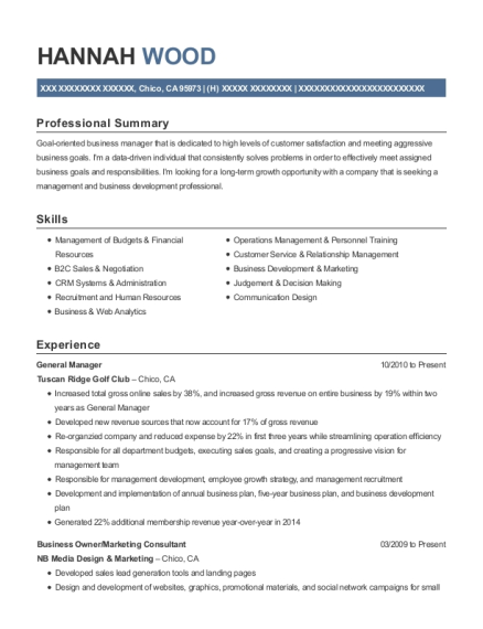 General Manager resume template California