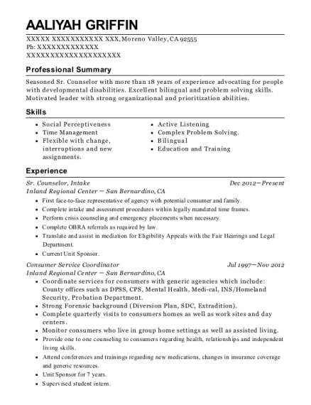 Sr Counselor resume example California