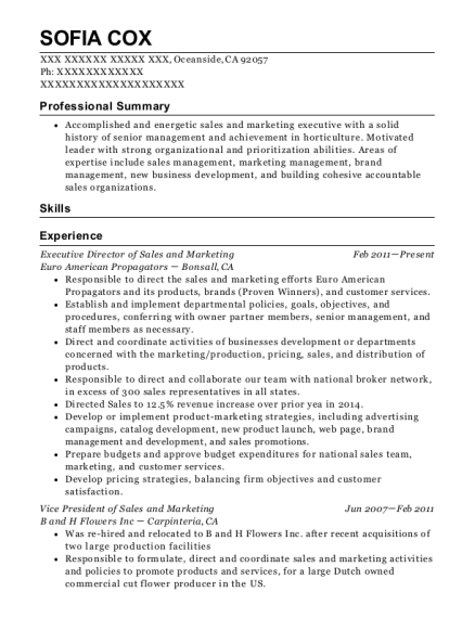 Executive Director of Sales and Marketing resume example California