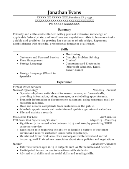 Medical Office Staff resume sample California