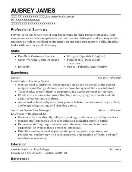 Server resume sample California