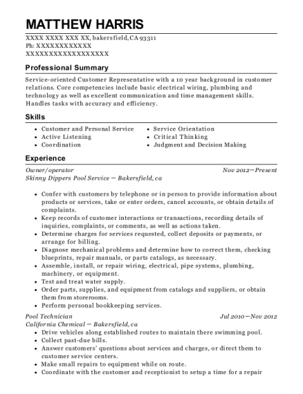 Owner resume sample California