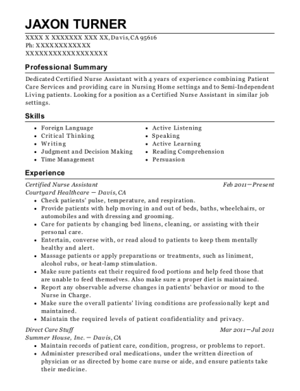 Certified Nurse Assistant resume example California
