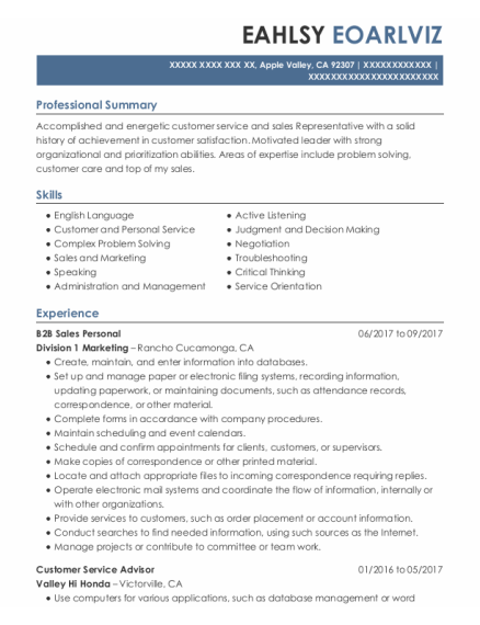 Customer Service Advisor resume example California
