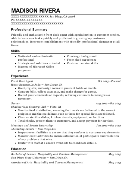 Front Desk Agent resume format California