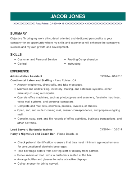 Administrative Assistant resume format California