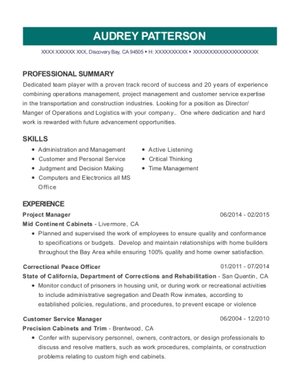 Project Manager resume format California