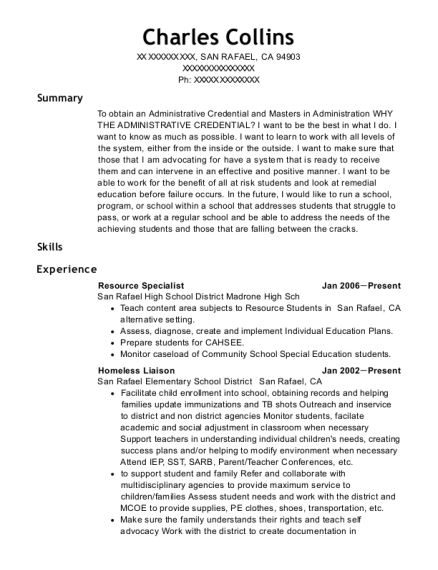 Resource Specialist resume sample California