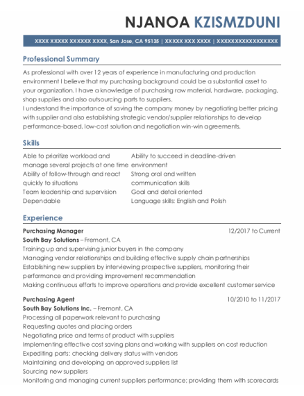Purchasing Manager resume format California