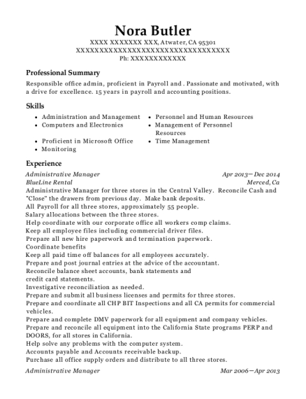 Administrative Manager resume example California