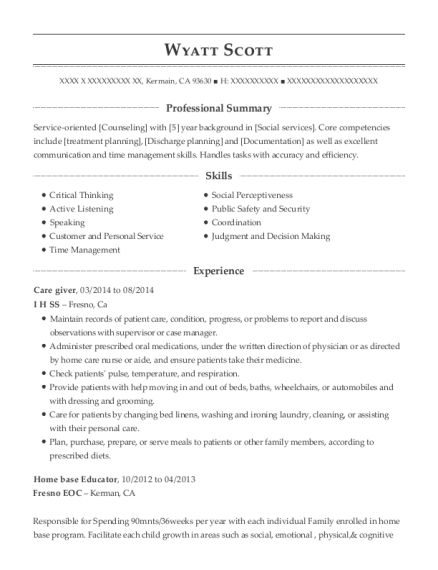 Care giver resume sample California