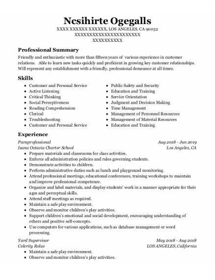 911 Dispatcher resume template California