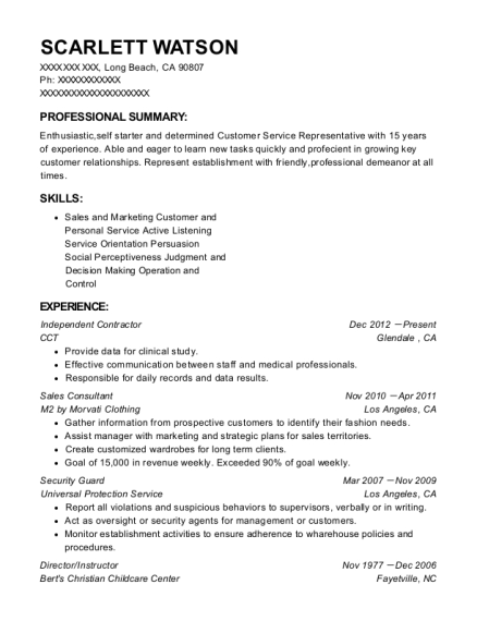 Independent Contractor resume format California