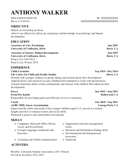 Child Caretaker resume format California